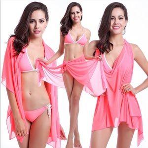 Neon Pink Bikini and Cover Up